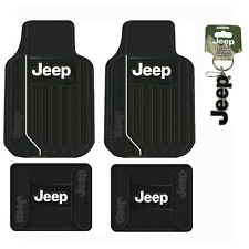 New 4pc Jeep Elite Front Back Heavy Duty Rubber Floor Mats & Keychain Set