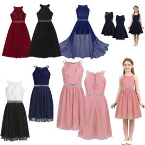 Kids Lace Sequins Girls Princess Dress Gown Wedding Pageant Party Formal Dress