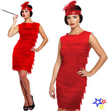 Red Flapper Dress Costume - Fancy Dress Charleston Fringed 20's Gatsby