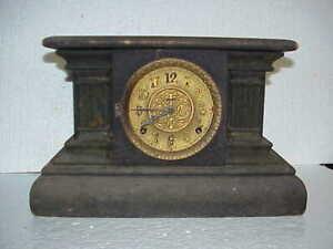 Antique 8 Day Time & Strike Ingraham Black Mantle Parts Clock parts repair C