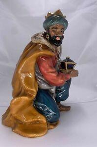 "Kirkland Signature Porcelain Nativity KING WISE MAN BLACK KNEELING 6.75"""