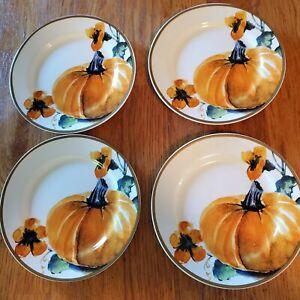 "Ciroa Pumpkins Set of 4 Appetizer Porcelain Thanksgiving Plates 6"""