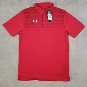 Under Armour Polo Golf Shirt Mens Small S Loose Fit UA HeatGear Casual Red