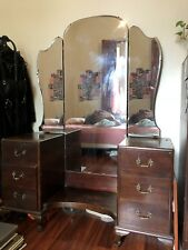 Genuine Wooden Vintage Dresser with Butterfly Mirror - Used
