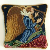 "Vtg Christmas Wool Needlepoint Petit Point Throw Pillow Angel Harp 10.5"" Sq"