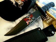 "Commemorative Combat Bowie Hunter Knife 6mm Tang Free Adjustable Hat Black 14"" O"