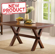 Crossing Dining Table Wood Kitchen Desk Home Office Furniture Modern Brown NEW