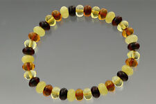 Button Shape Beads Genuine Baltic Amber Stretch Bracelet 7g b170607-20