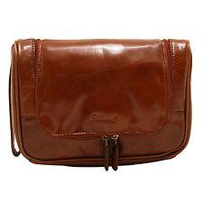 Ashwood - Chestnut Brown Hanging Chelsea Wash Bag in Veg Tanned Buffalo Leather