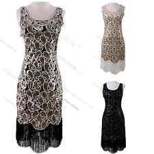 1920s Flapper Fancy Dress Gatsby 1930s Art Deco Charleston Sequin Fringe Dress