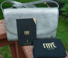 Frye '' Melissa '' Metallic Leather Wallet Crossbody Silver NWT