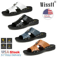 News Summer Beach Mens Casual Leather Sandals Shoes Outdoor Anti-slip Slippers
