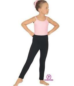 Eurotard 1066 girls black leggings dance casual cotton SM 4-6