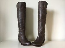 FRYE New Jane Tall Brown Leather Buckle Riding Over The Knee OTK Cuff Boot 6 B