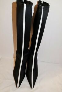 Chinese Laundry Knee High Heel Boots black with white