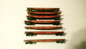Vintage Varney HO Train Union Pacific 1940's Lot of 7 Stamped Steel 50' Flatcars