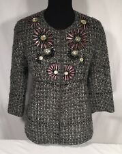 St John Couture Ribbon Tweed Knit Gray Jacket Blazer Flower Embellished 4 NWOT
