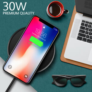 Fast Qi 30W Wireless Charger Charging Pad Dock Universal Compatible
