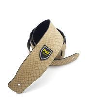 Beige Embossed Snake Guitar Strap Adjustable PU Leather Electric Guitar Bass