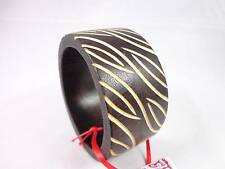 Sir Alistair Rai dark brown wood bangle bracelet Foliage Branch Zebra Design NWT
