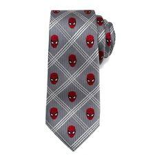 Spider Man TIE Gray Plaid MARVEL 100% SILK Mens