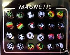 PACK OF MAGNETIC FAKE STUDS 24 Pieces  Many designs Body Piercing Jewellery