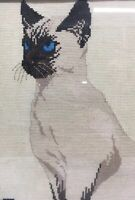 Framed Point SIAMESE Cat Completed Cross Stitch  15x12 Vintage