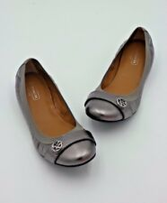 NIB Coach Chelsey Silver Metallic Leather Ballet Flats  6 36 New