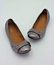 NIB Coach Chelsey Silver Metallic Leather Ballet Flats  6.5 36.5 New