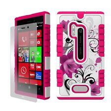 For Nokia Lumia N928 Hybrid Armor Shield Tough Case White Flower Bloom Image