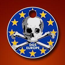DGS Dirtbag Geocaching Society Europe Pathtag  Skull Geocoin Alt