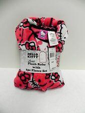 """NWT Licensed """"Hello Kitty"""" 3-Piece Plush Robe with Fleece Pajama Set, Size 8"""