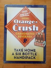 NEW METAL ORANGE SODA POP CRUSH DECOR* old retro vintage style bottles caps pack
