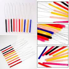 10pcs Hair Extension Tool- Micro Ring Bead Pulling Hoop Loop Feather Threader UK