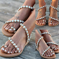 Womens Boho Flower Flat Sandals Summer Rhinestone Holiday Beach Flip Flop Shoes