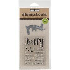 Hero Arts Happy Stamp & Cut DC150 Clear Stamps Dies Birthday Anniversary Wedding