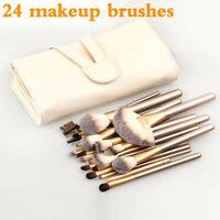 Pro 24 Pcs Makeup Brushes Cosmetic Tool Kit Eyeshadow Powder Brush Case Bag Set