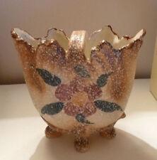 Ceramic Figurine Ornate Basket 1920s Spackle Surface Floral Designs