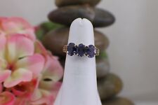 Solid 10K Yellow Gold Ring 3 Stone Iolite Pretty Violet Blue sz 5 Heart Filigree