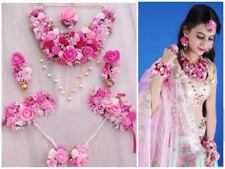 Artificial Flower Jewelry Set Indian Bridal Pearl Floral Wedding Necklace 6 Pcs
