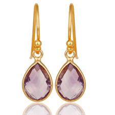 Pear Shape Designer Natural Amethyst Gemstone Gold Plated Silver Earrings