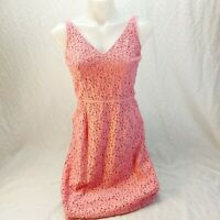 Ann taylor petites size 4P pink v neck embroidered / crochet lace dress