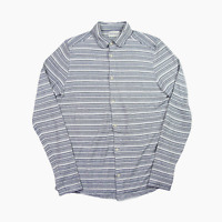 Oliver Spencer Lightweight Cotton Jersey Stripe Casual Long Sleeve Shirt Mens S
