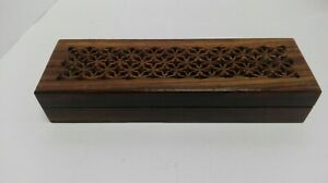 Handmade Hardwood Wooden Pencil Case with carved pierced  lid B15