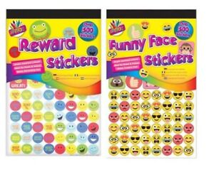 500x Funny Emoji Smiley Face Teacher Reward Stickers Parent Kids Childrens Award