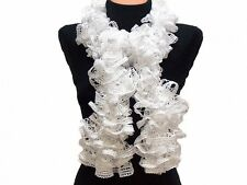 BELLY DANCE SEQUIN Frilly Acrylic Scarf YARN - WHITE - Per Ball - 1 Ball=1 Scarf