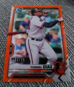 Yusniel Diaz 2021 Bowman Sapphire Orange Refractor #/75 Prospect Card