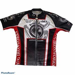 Louis Garneau Great Eagle Full Zip Red Black White Cycling Jersey Sz Small