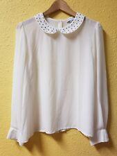 Cotton On Womans Ivory Sheer Rnd Neckline Blouse Sz L