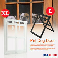 Large Lockable Dog Cat Door Plastic Pets Screen Door Gate Way Black/White